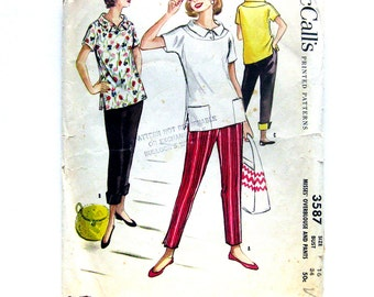 Vintage Sewing Pattern - Slim Cigarette Pants with Cuffs Overblouse 1950s Pattern McCall's 3587 / Size 16