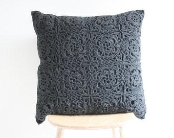 Big grey crochet pillow