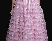 1950s Nadine Pink Prom Dress Sensational Tiny Lace Ruffles Very Romantic Design