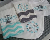 Paxton Personalized Bib 2 Burps and a Blanket  Set - Name and/or up to 3 Initials