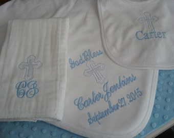 Carter Personalized Baptism Blanket Bib and Burp Cloth christening Gift Set  - Choice of Name and/or upto 3 Initials