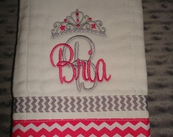 Bria Personalized Burp Cloth Premium Quality 6-Ply Burp cloth- Name or up to 3 initials