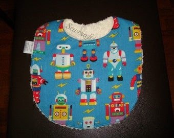 Robots Bib with Super Absorbant Chenille backing and Snap Closure  -Ready To Ship
