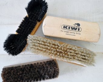 1950s vintage wooden shoe shine brushes--horse hair, made in italy, kiwi, oxford