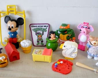 vintage--junk drawer lot of old toys...teenage mutant ninja turtle, hallmark toys, mcdonalds toys, disney toys
