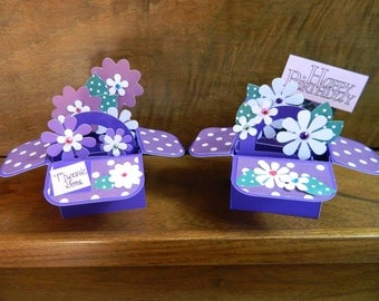 2 Mini Baskets of flowers  Pop up cards  Thank You & Happy Birthday