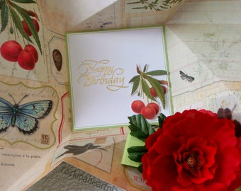 BIRTHDAY card, spring or botanical theme, folded pinwheel style in red and green