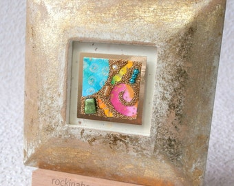 Mixed Media Art, Original Abstract Collage in Gold Frame, with wooden easel, gold microbeads
