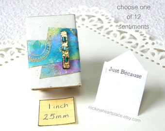 Keepsake Box - Matchbox Art - abstract design in turquoise, purple and green, with gift card (your choice of sentiment)