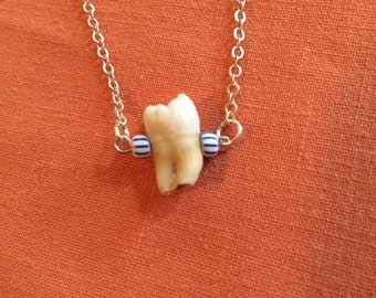 Human Tooth and Trade Bead Necklace