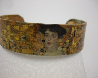 Klimt Woman Bracelet Decoupage Cuff Bracelet