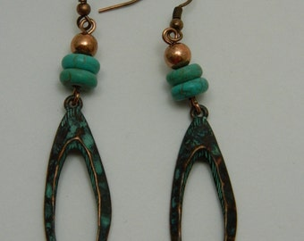 Copper Turquoise Patinaed