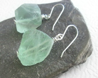 Mint Green Fluorite Earrings, Natural Crystal Jewelry, Sterling Silver