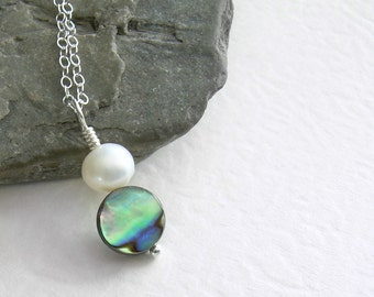 Small Abalone Necklace, White Pearl Pendant, Beach Wedding Jewelry