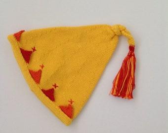SALE Sunshine on a Rainy Day: Bright Yellow Cotton Pixie Baby Hat 6-12 months size Cotton Vegan Photo Prop