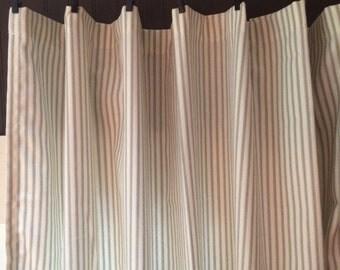 ticking stripe curtain panels grey black navy red brown 72