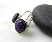 Royal Purple Earrings - Sterling Silver and Fused Glass Leverback Earrings -  Ready to Ship