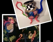 Painted Silver Tea Pot // Whimsical Painted Tea Pot // Custom Painted Silver
