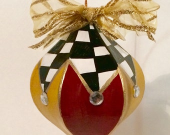 Christmas Tree Ornament // painted ornament // whimsical painted ornament // Alice in wonderland