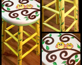 Whimsical Painted Furniture, Painted bar stool // painted swivel bar stool // Whimsical Owl Painted Bar Stool