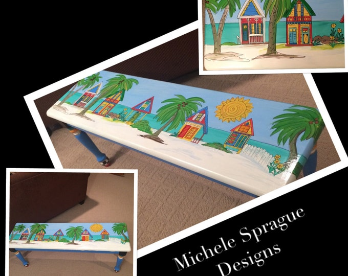Whimsical Painted Furniture, Painted bench // whimsical painted bench // island style bench