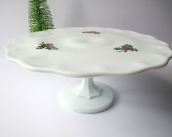 Vintage Indiana Teardrop Milk Glass Holly Berry Christmas Cake/Dessert Stand