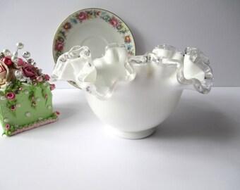 Vintage Fenton Milk Glass Silver Crest Bowl