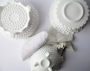 Vintage Fenton Milk Glass Hobnail Serving Bowl Collection of Three