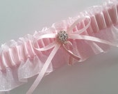 Breast Cancer Awareness Pink Wedding Garter Power Pink Ribbon Bow