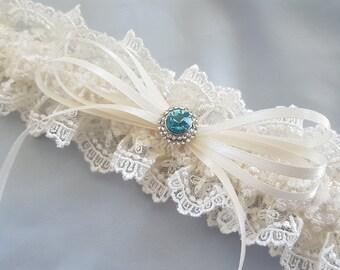 Ivory Lace Wedding Garter Aqua Blue Something Blue Rhinestone Accent Bridal Garter