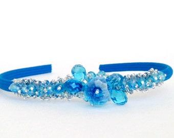 Aqua Blue Crystal Headband Jeweled Hairband Crystal Tiara Bridemaids Hairpiece Beaded Crown Flower Girl Accessory Pageant Handmade Gift