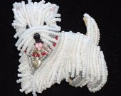 WESTIE LOVE beaded West Highland White Terrier dog pin pendant - Gift for Her (Made to Order) Free US Shipping