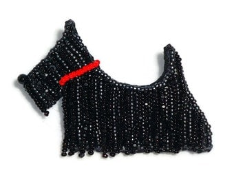 SCOTTISH TERRIER beaded Scottie Dog pin pendant art jewelry (Made to Order) Free US Shipping