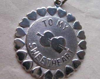 To My Sweetheart Sterling Charm Silver Vintage 925 Hearts