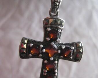 Garnet Marcasite Sterling Necklace Pendant Vintage 925 Silver Christian