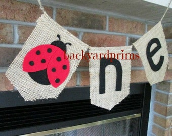 ONE burlap banner ~high chair Birthday banner ~Ladybug banner ~1st Birthday party ~photo prop ~cake smash ~ready to ship SALE