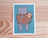 Sloth and Robot Print - Teal