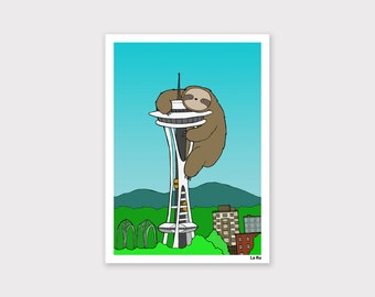 Sloth in Seattle Print