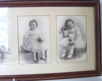 Vintage Little Girl with Flowers Picture - Instant Ancestor - 5 Pictures in Collage Frame