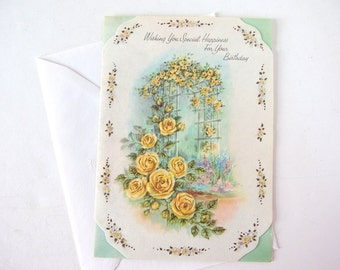 Birthday Card with Yellow Roses and Cutouts - UNUSED