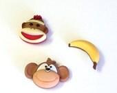 Adorable Monkey Business Magnet Set, 3 Pieces, Handmade, Sock Monkey, Banana, Monkey