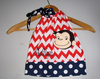 Curious George Dress  Monogrammed  red white and blue Chevron applique pillowcase dress 3 6,12 18month 2t, 3t,4t 5t,6,7,8,10