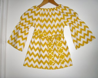 mustard  yellow Chevron top  long sleeves peasant top girls  sizes 2t,3t,4t, 5t.,6, 7, 8 , 10