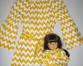 """Matching tops Chevron top mustard yellow Long  peasant tunic top long  sleeves matching doll tunic top for 18""""doll size 2t,3t,4t,5t,6,7,8,10"""