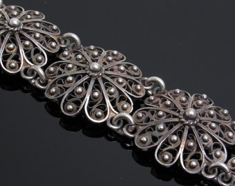 Vintage Sterling Filigree Flower Bracelet Jewelry