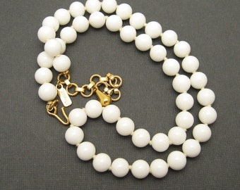 White Glass Bead Necklace Vintage Monet Jewelry N6834