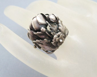 Antique Sterling Nouveau Floral Ring Hobe Jewelry R6840