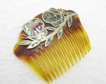 Vintage Hair Comb Abalone Butterfly Alpaca Jewelry M6867