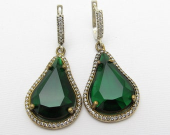 Long Green Rhinestone Sterling Earrings E7193