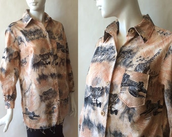 1970's animal print cotton shirt, shades of light brown & black, featuring Africa savannah scenes, long sleeves, women's large / extra large